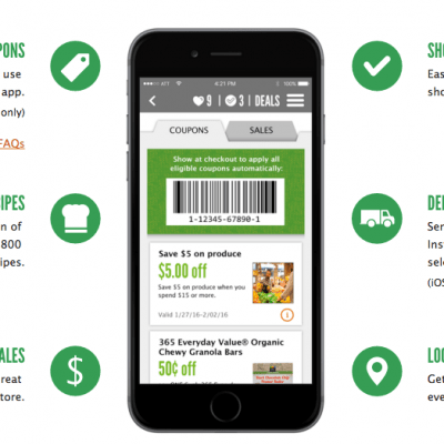 Whole Foods Coupon – Produce $5 off $15 Coupon on App