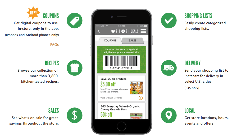 Whole Foods Coupons on app apple android iphone
