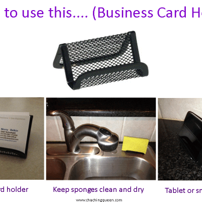 Uses for Business Card Holders – Keep Sponges Clean and Dry, Smartphone or Tablet Stand