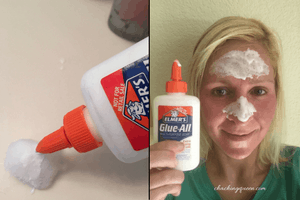 why I put glue on my face