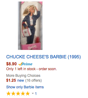 CHUCKE CHEESE'S BARBIE (1995) doll amazon deal discount
