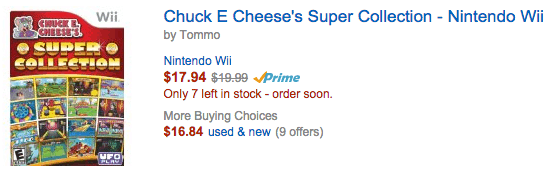Chuck E Cheese's Super Collection - Nintendo Wii amazon discount deal
