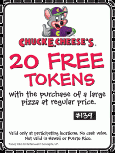 Chuck E Cheese Tokens Coupons No Expiration - 20 Free Tokens
