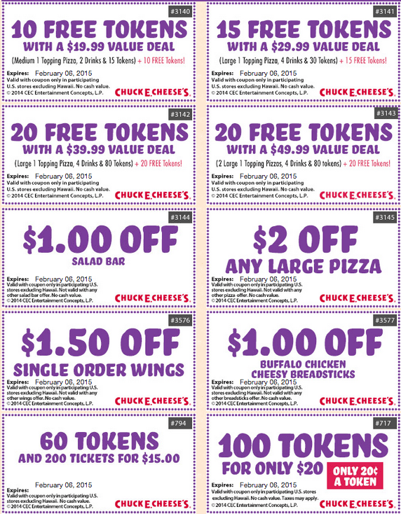chuck e cheeses coupons february 2015 january 2015 tokens
