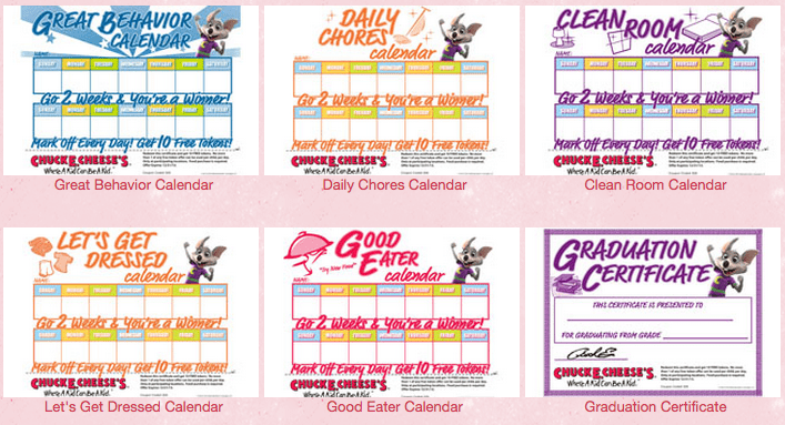 free chuck e cheese tokens printable rewards calendars