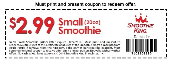 smoothie king printable coupon december 2014