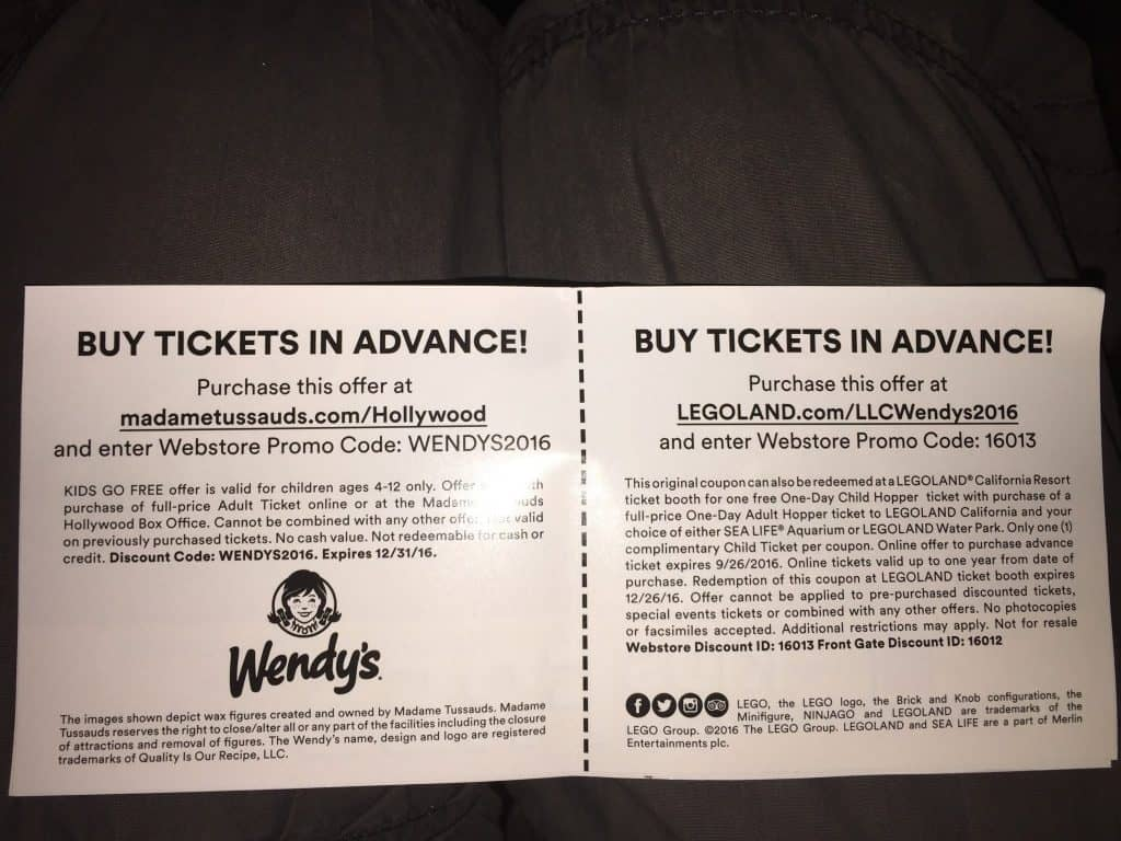Legoland California coupons online promo code from Wendys 2016 discount