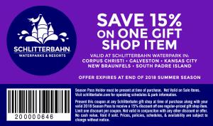 2018 gift shop coupon 2018 Schlitterbahn Waterpark Season Pass Holder