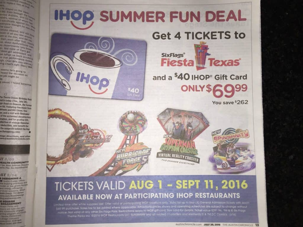 Deal Six Flags Fiesta Texas in San Antonio discount ihop summer fun deal 4 tickets ihop gift card 2016