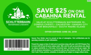 cabana rental 2018 printable coupon Schlitterbahn Waterpark Season Pass Holder