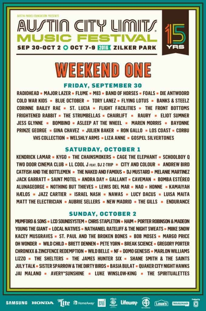 Austin City Limits 2016 Weekend One Line Up - list of bands