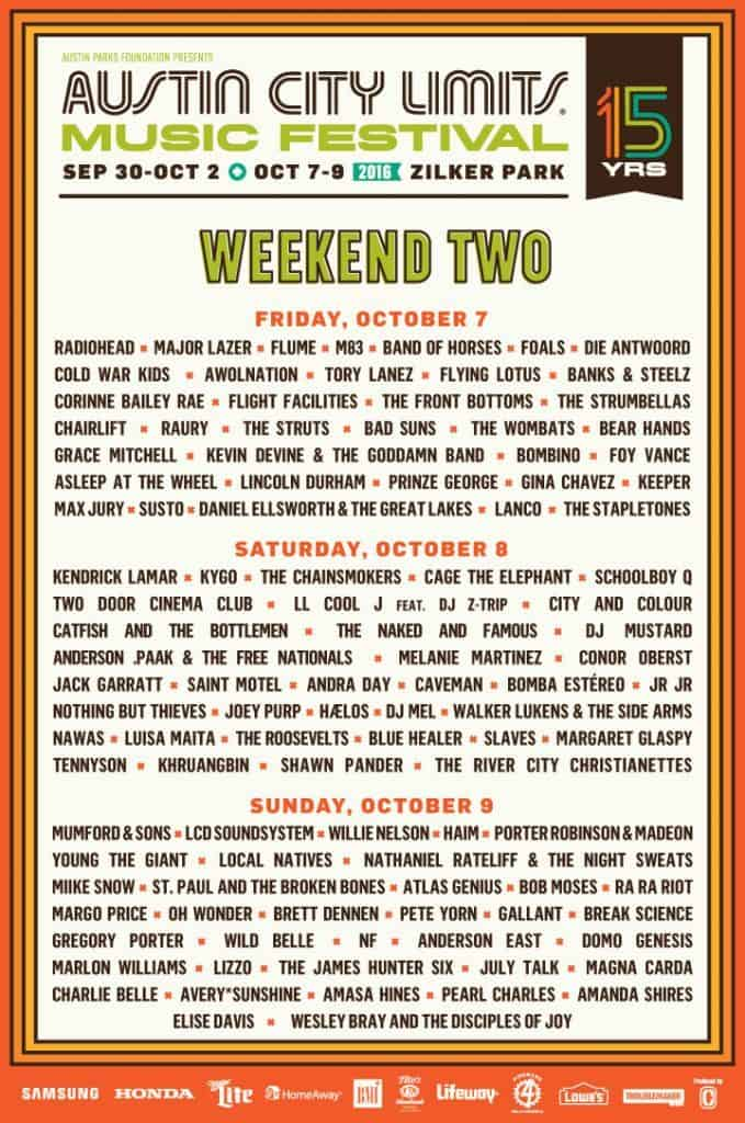 Austin City Limits 2016 Weekend two Line Up - list of bands