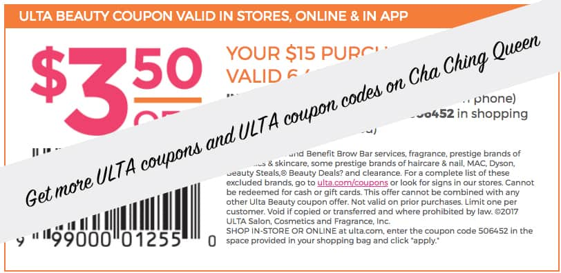 Get more 2017 ULTA coupons and ULTA Beauty coupon codes
