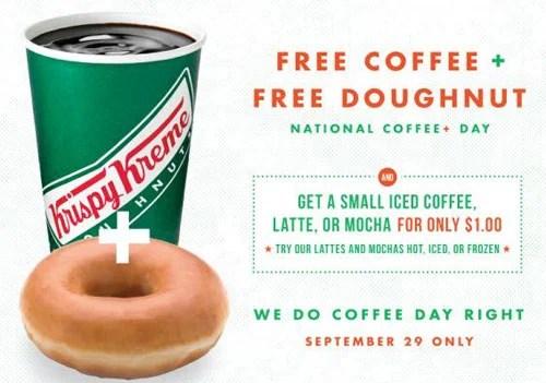National Coffee Day 2016 Krispy Kreme Free Coffee on Coffee Day and Free Donut