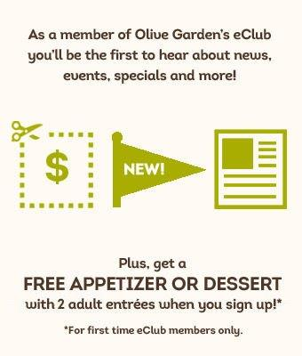 Olive Garden coupon for a free appetizer or dessert