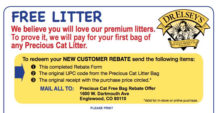 Get Free Cat Litter 40lb Bag – Free after Rebate