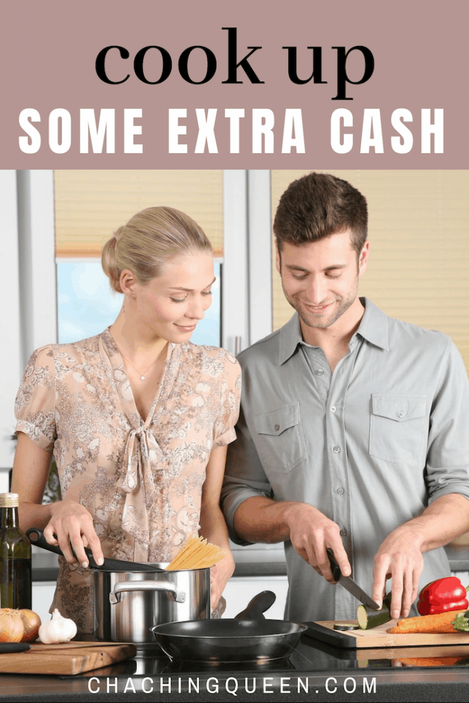 cook up some extra cash - ways to save money on good food - date night couple in kitchen