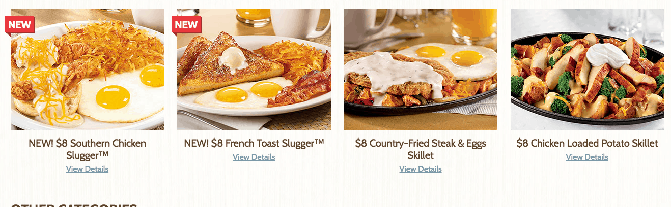 Denny's $8 menu items from 2468 menu