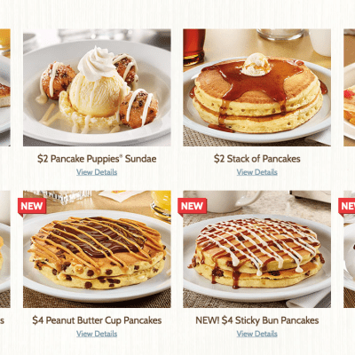 Denny's $2 $4 $6 $8 Menu, Including $4 All You Can Eat Pancakes