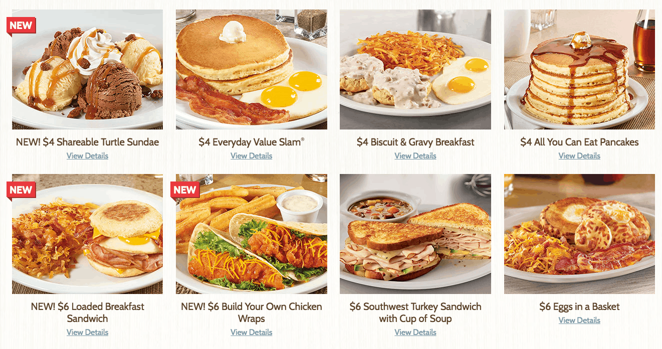 Denny's $4 Meals from $2 $4 $6 $8 Menu items
