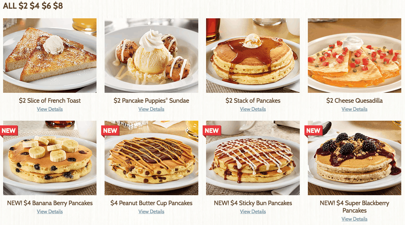 $2 Meals from Denny's $2 $4 $6 $8 Menu