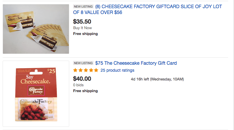 the cheesecake factory discounted gift card deals on ebay