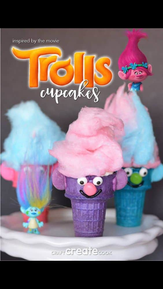 Trolls Themed Party Food Ice Cream Cone Cupcakes