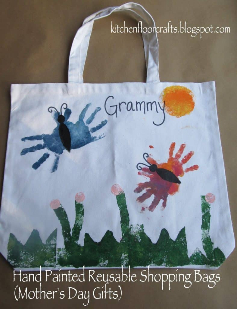 Hand Painted Reusable Shopping Bags mothers day diy gift idea