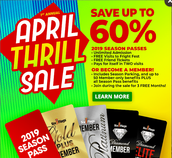 Six Flags April Thrill Sale - 2019 six flags season passes-min