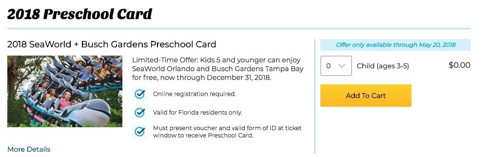 free sea world ticket preschool card 2018