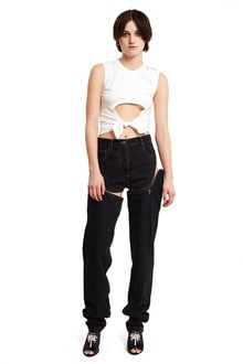 detachable cut out side jeans - denim shorts and pants