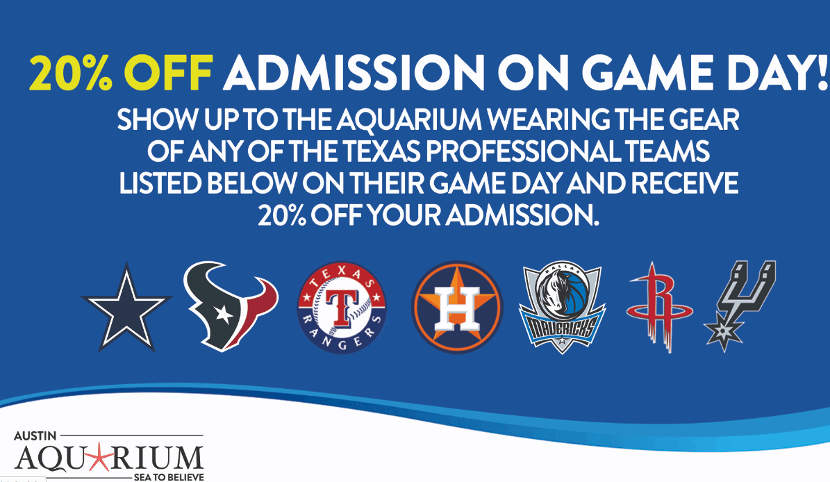 Austin Aquarium 20% off discount for sports fans