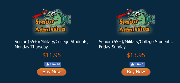 austin aquarium tickets student discount senior discount military discount