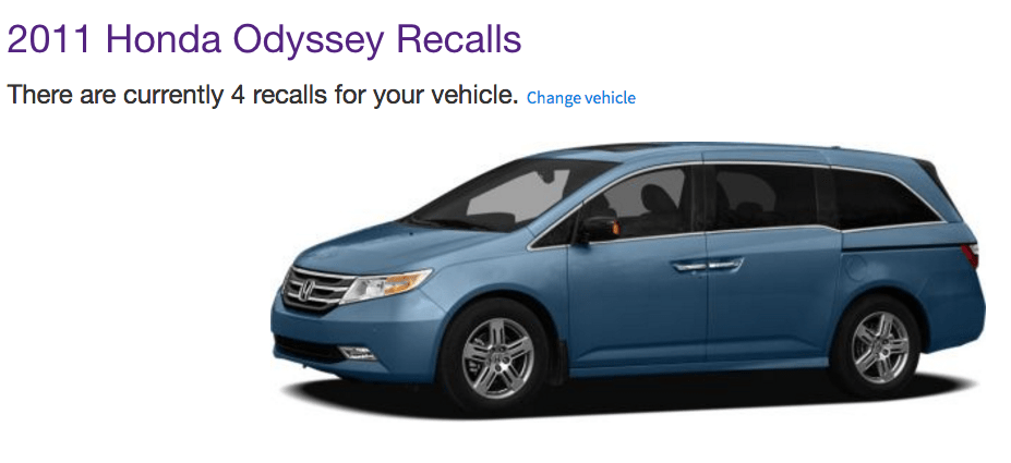 car safety 2011 Honda Odyssey Recalls what to do