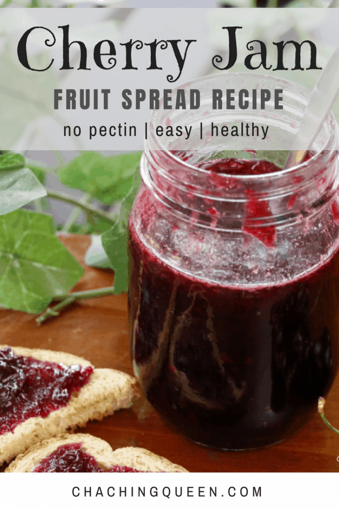 homemade cherry jam - healhy recipe fruit spread with no pectin cha ching queen