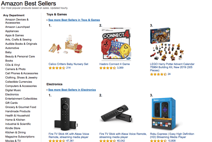 Amazon's Best Sellers Up-To-Date List