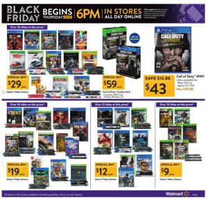 Walmart Black Friday Ad 2017 video games