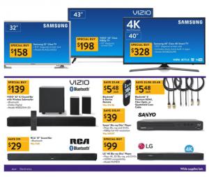 Walmart Black Friday Ad 2017 vizio sanyo rca tvs blu-ray dvd player
