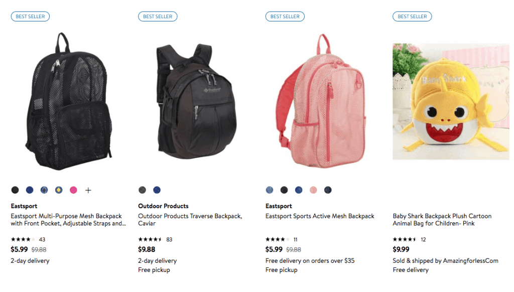 Discount on Lots of Backpacks - Here's What I Found for Under 10 dollars