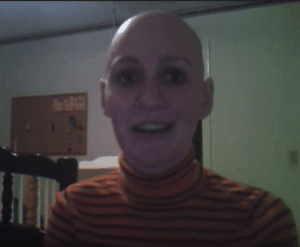 bald from chemo breast cancer survivor