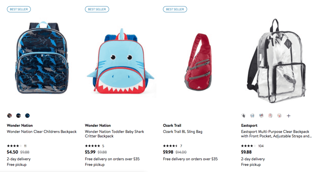deal on backpacks at walmart