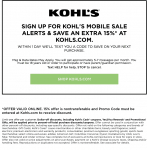 how to get kohls mobile coupons text