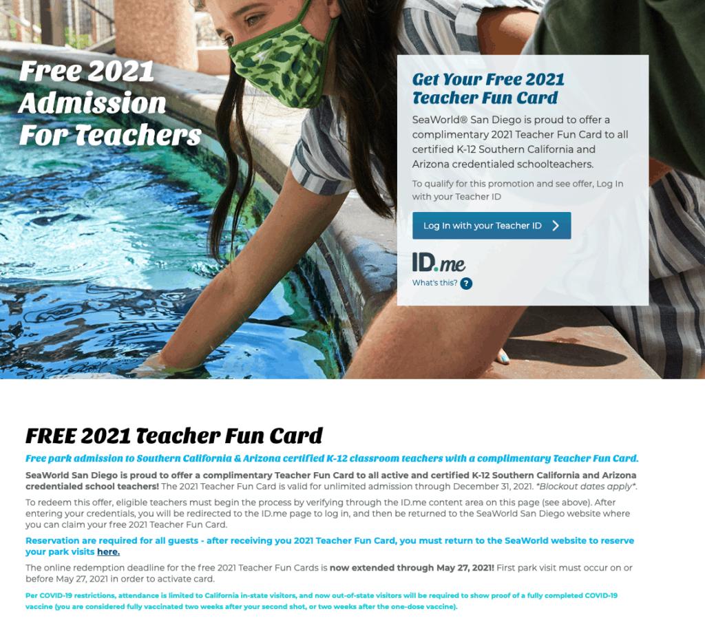 teacher free tickets to sea world