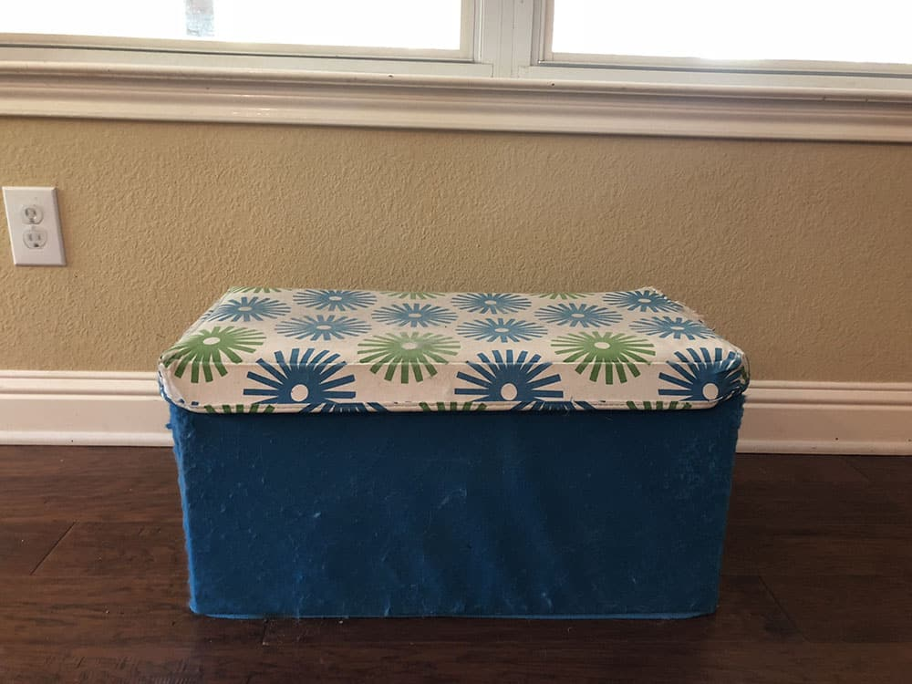 old ratty storage ottoman bought from big lots years ago