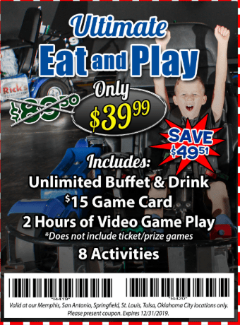 2019 Incredible Pizza Coupon - eat and play buffet game card 8 activities