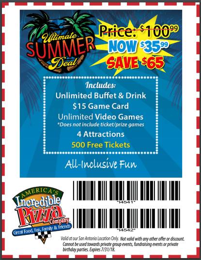 incredible pizza san antonio coupon summer 2018