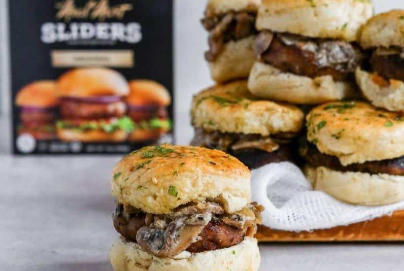 Garlic Bread Pull Apart Mushroom Beef Sliders recipe kosher