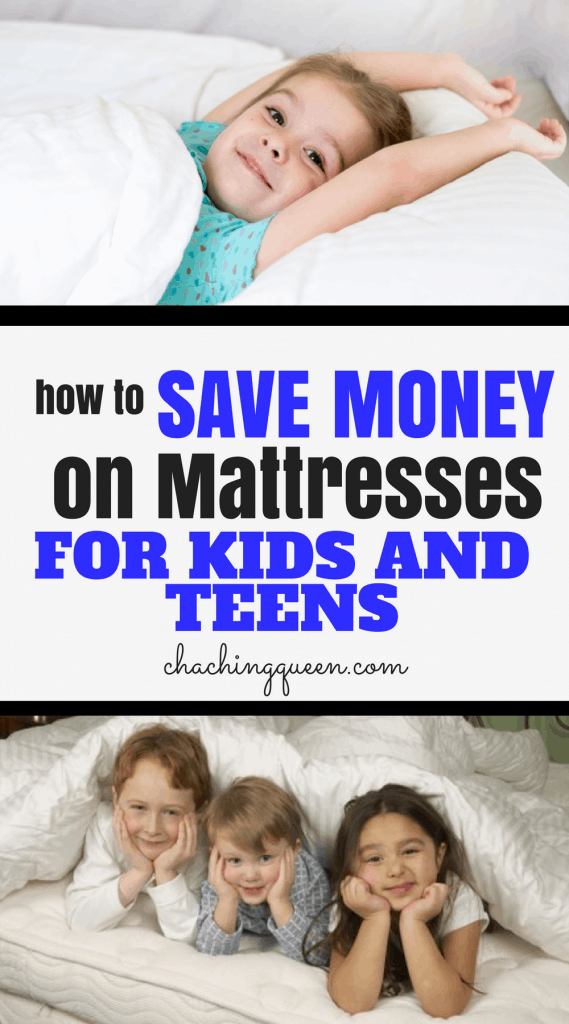 How to Save Money on a New Mattress for Your Kids and teens cha ching queen pinterest image