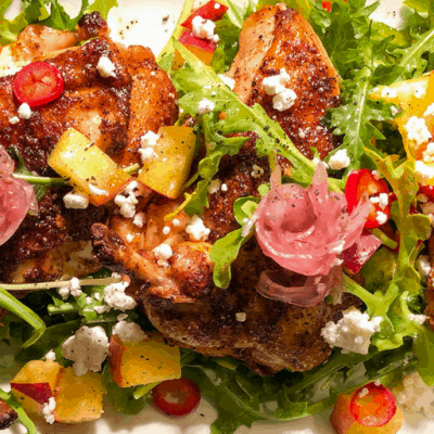 Chicken, Peach, and Goat Cheese Summer Salad Recipe