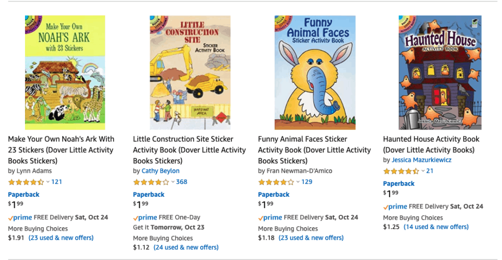 Kids Activity Books Many Under $2 Each - Gift or Car Trip Ideas